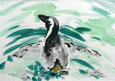 20121001_Pinguin schwimmend_aquarell